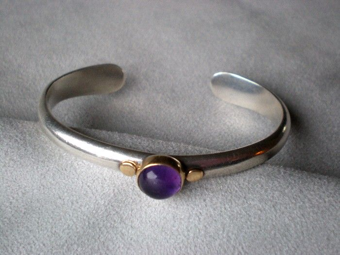 Beautiful Sterling Silver and 18k Gold Amethyst Bracelet