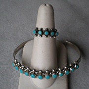 """Matching Sterling & Turquoise """"Snake Eye"""" Bracelet and Ring"""