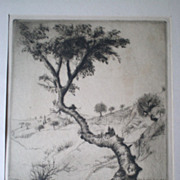 "Fabulous ""Elias Grossman (1898-1947)"" Etching - Tree in Haifa"