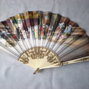 Magnificent French Hand Painted Fan with Wedding Scene