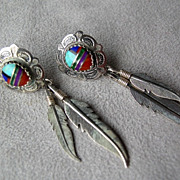 Beautiful Southwest Sterling Silver Inlay Earrings