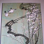 Original Chiu Weng Chinese Watercolor Painting on Cork Paper
