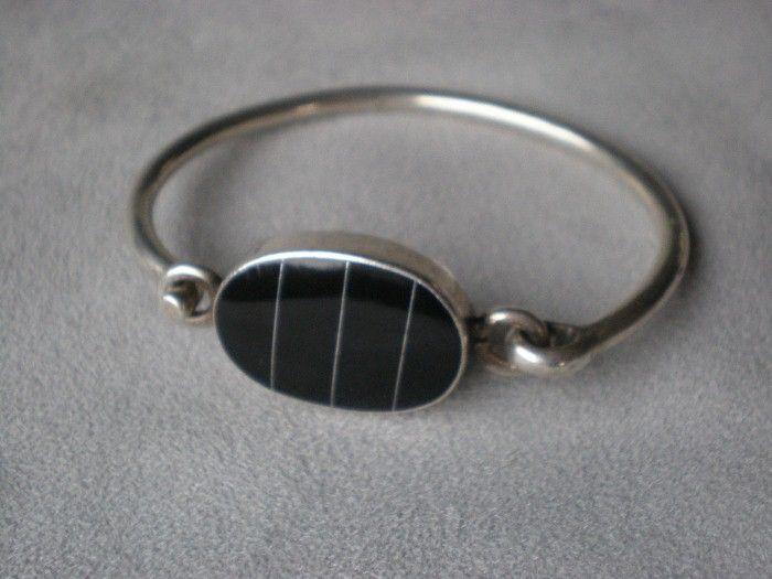 Fabulous 950 Taxco Sterling and Black Onyx Bracelet