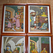 "4 ""Harry Eliott (1882-1959)"" Colored Stencil Monk Prints"
