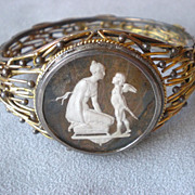 Incredible Vintage 14k Gold and Intaglio Bracelet