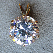 Beautiful 14k Gold and Round CZ Solitaire Pendant