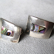 Fun Pair Taxco Sterling and Abalone Earrings