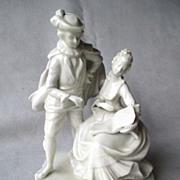 Dresden German Blanc de Chine Figurine Pair