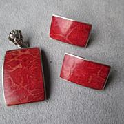 Beautiful Sterling & Sponge Coral Pendant and Earrings