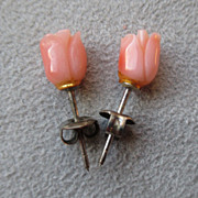 Carved Coral Flower Earrings