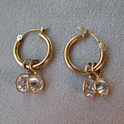 14k Gold and CZ Dangle Earrings