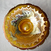 Bohemian Glass Center Bowl with Carriage Scene