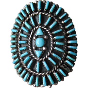 Vintage Zuni Sterling Needlepoint Turquoise Ring