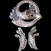 """Vintage """"Keyes"""" Rhinestone Pin or Brooch & Matching Earrings"""