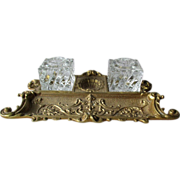 Ornate Brass Inkstand with Glass Bottles