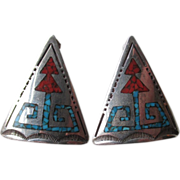 Sterling Navajo Earrings with Inlaid Turquoise and Coral