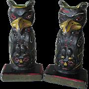 Rare Vintage Cast Iron Totem Pole Bookends