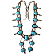 Beautiful Silver and Turquoise Squash Blossom Necklace