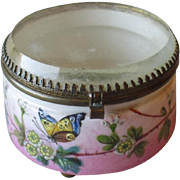 Wonderful Antique Porcelain Dresser Jar with Beveld Glass Cover