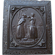 Antique Gutta Percha Union Daguerreotype Photo Case - Rebecca at the Well