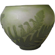 """Small """"Galle"""" Cameo Glass Vase with Fern Pattern"""