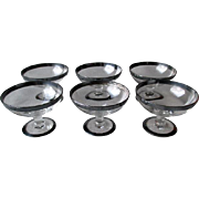 """6 Gorgeous """"Hawkes"""" Crystal Sherry Glasses with Silver Rim"""