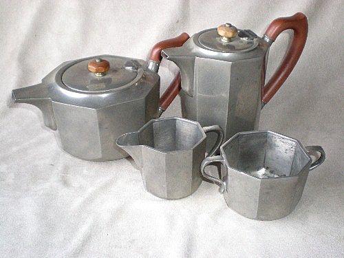 """Marvelous """"Liberty & Co."""" Tudric Pewter Tea / Coffee Set"""