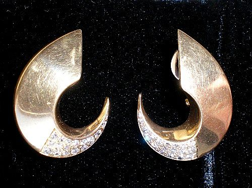 Gorgeous Pair 14k Gold Diamond Crescent Earrings