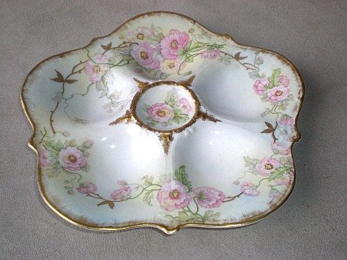 Beautiful Floral Limoges Porcelain Oyster Plate