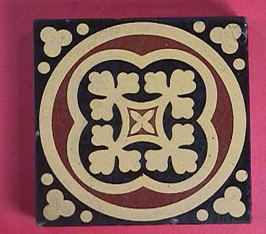 c1870 Encaustic English Tile by William Godwin, Lugwardine, Hereford
