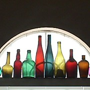 Nine Colorful Hand Blown Bottles for Display or Decoration (dating c1765 up to 1890+)