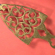 Mid-1800s Cast and Hand Finished Brass Trivet with playing card symbols