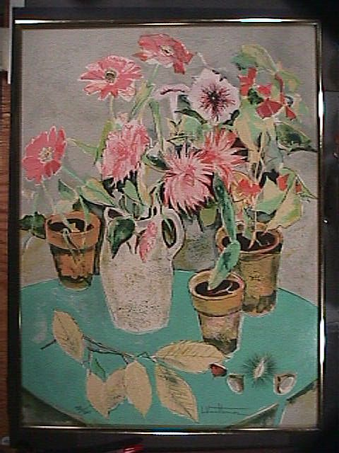 Still Life Potted Flowers (signed print; #132/260) in Matisse-style