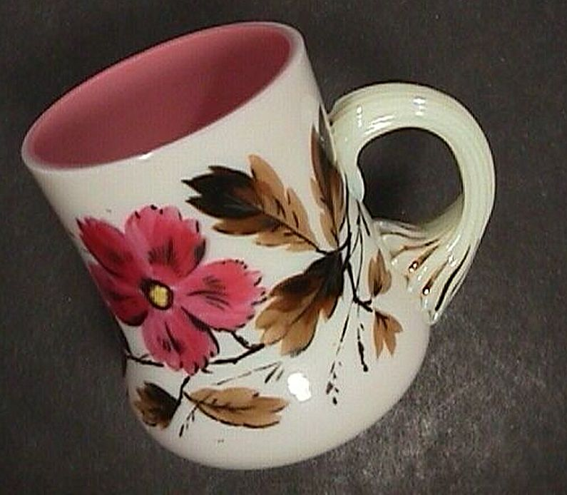 c1875 English Enameled Glass Cup blown from cased Peach & Milk glass