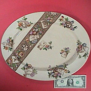 1884 Brown printed Aesthetic Platter with hand color accents by W.A. Adderley