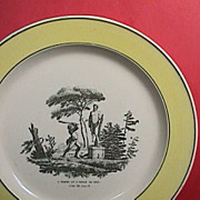 c1820 Creil Creamware Plate with yellow rim and print of Fable #8 (The Man and the Idol)