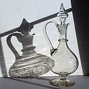 c1845 Copper Wheel Engraved  Hand Blown Glass Ewer or handled Decanter with rough snapped pontil