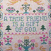 Framed Cross Stitched Sampler TRUE FRIEND on Linen (c1940s or older)