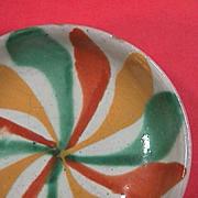 Mid 1900s polychrome tin glazed Majolica small dish (Mexican or Spanish Maiolica)