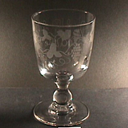 c1830 Hand Blown & Wheel Engraved Glass Goblet on Baluster Stem (two available)