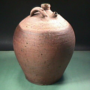 Late 1700s (or older) Large Stoneware ovoid Costrel Jug with handles and two spouts