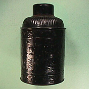 SALE Late 1800s Black Lacquered Tin Tea Canister with Po Ku Depictions (100 Antiques)