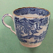 c1800 Pearlware Coffee Cup with Chinese Riverscape, Willow tree, Temples, Bridges, Rocks