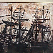 SALE Silhouettes of Tall Ships in Harbor at sunrise/sunset by Bernard Buffet (1968 exhibition reduced copy)