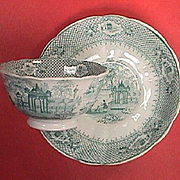 c1845 Staffordshire Green Printed Cup and Saucer in VERANDA pattern by Ralph Hall & Co.