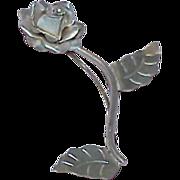 Vintage Sterling Silver Rose Brooch