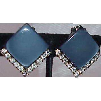 CORO Blue/Gray Thermoset and Rhinestone Earrings