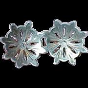Art Deco Pin Wheel Design Sterling Earrings