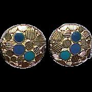 Vintage TRIFARI Blue Enamel Earrings