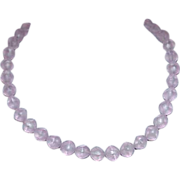Pink Opaque Lucite Bead Necklace